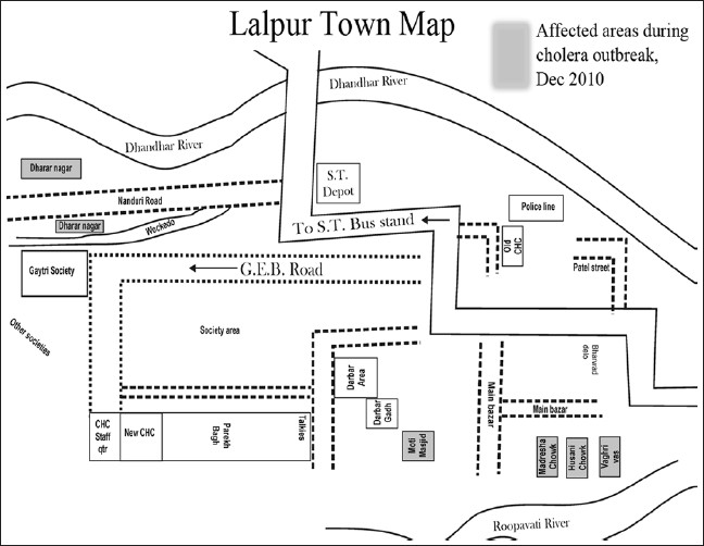 Figure 1: Geographical map and affected areas during cholera outbreak, December 2010, Lalpur town