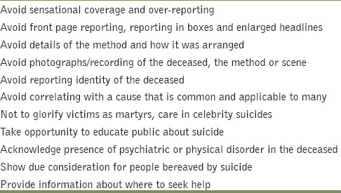 Table 2: Suggestions for responsible reporting of suicides