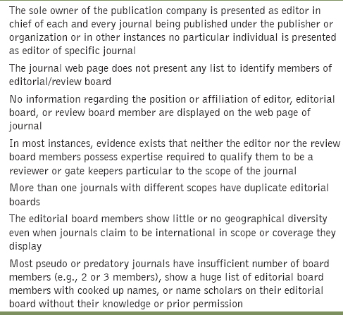 Table 1: Editor and staff issues in predatory journals<sup>[32]</sup>