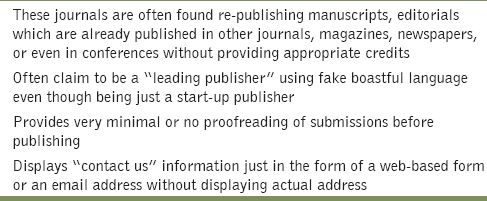 Table 4: Other miscellaneous issues in predatory journals<sup>[32]</sup>