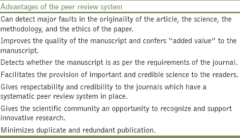 Table 3: Advantages of the peer review system<sup>[4],[5],[7],[10],[11],[12],[14],[15],[17],[19],[20]</sup>